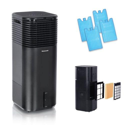 Honeywell DLC203AE 500CFM Indoor Evaporative Tower Cooler with Fan, Humidifier & Remote Control, Black Evaporative Air Cooler Honeywell