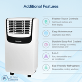 Honeywell MO08CESWB 8000 BTU 350 sq. ft. 3-in-1 Quiet Portable Air Conditioner (Compact Series), Blue Portable Air Conditioner Honeywell