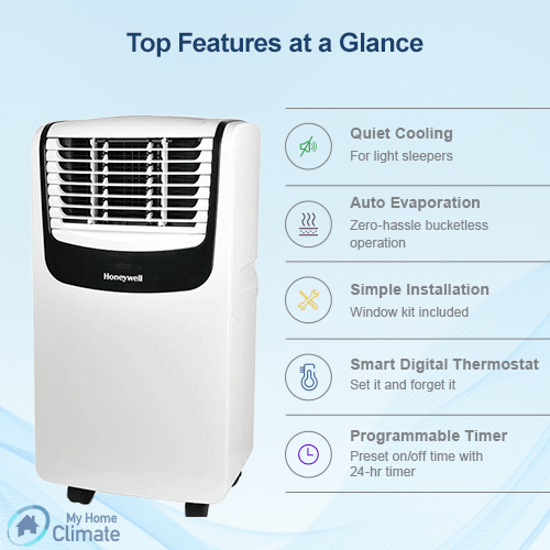 Honeywell MO10CESWS 10000 BTU 350 sq. ft. 3-in-1 Quiet Portable Air Conditioner with Remote Control (Compact Series), Silver Portable Air Conditioner Honeywell