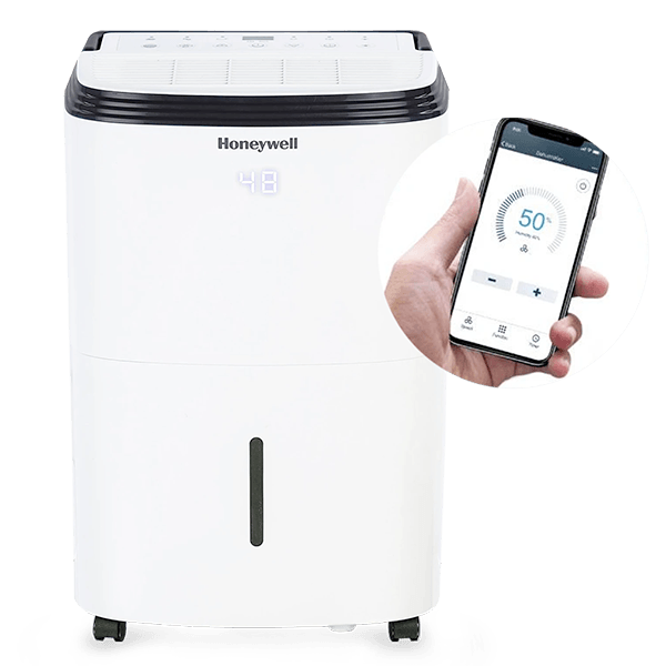 Honeywell TP50AWKN 50 Pint (30 Pint DOE 2019 Standard) Smart Dehumidifier with Alexa Voice Control, White Dehumidifier Honeywell