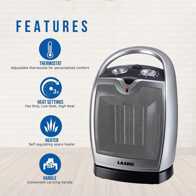 Lasko 5409 1500W Oscillating Ceramic Portable Electric Heater, Silver Heaters|Space Heaters Lasko