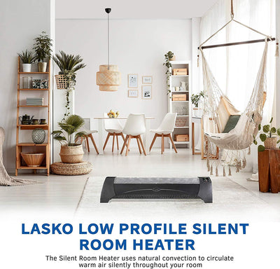 Lasko 5624 1500W Low-profile Space Heater with Silent Operation, Graphite Heaters|Space Heaters Lasko