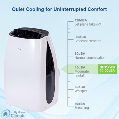 Quilo 12000 BTU 3-in-1 Quiet Portable Air Conditioner with Remote Control (White/Black) Portable Air Conditioner Quilo