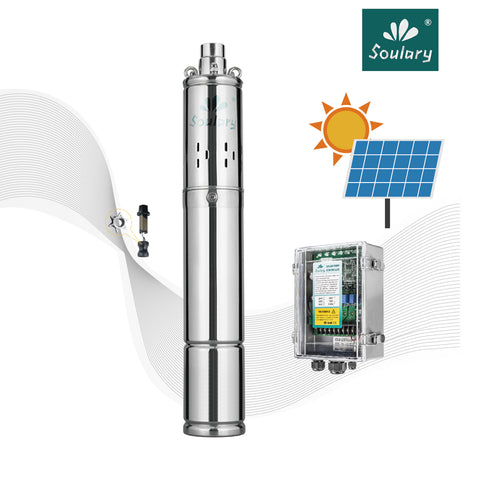 "Soulary Solar Bore Pump 3"" - 48 V / 120 Max Head / 1800 LPH"