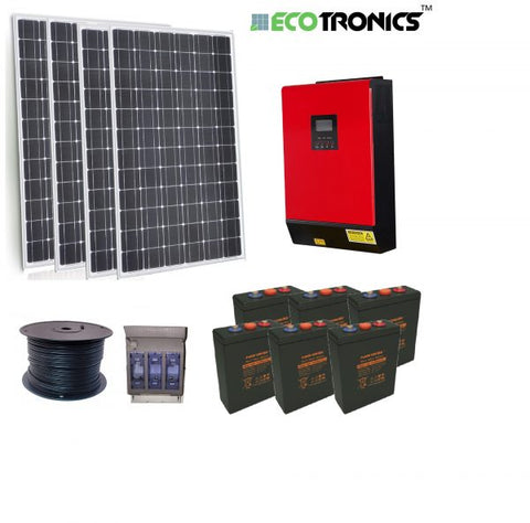 Ecotronics Off Grid System 3.36 PV KW - 5 Kva Inverter Charger / 11.5 KWH Lead Acid Bank