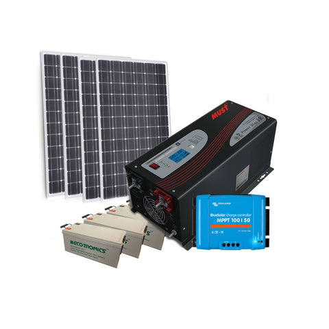Off Grid Shed Kit- 1KW PV / 11 KWH / 3000W Inverter / 50 Amp