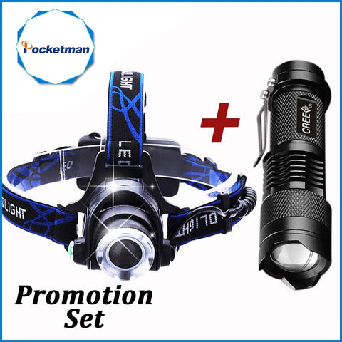 Pocketman Headlamp & LED Waterproof Flashlight - 3800 LM /2000 LM