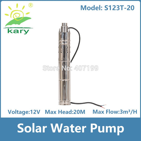 Solar Submersible Dam Pump - 12 V / 20 M Max Head / 3000 LPH