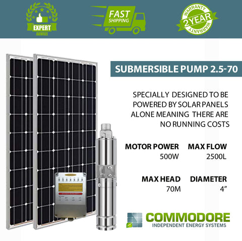 "Commodore Solar Bore Pump 3"" - 48 V / 500W / 70 M Max Head / 2500 LPH"