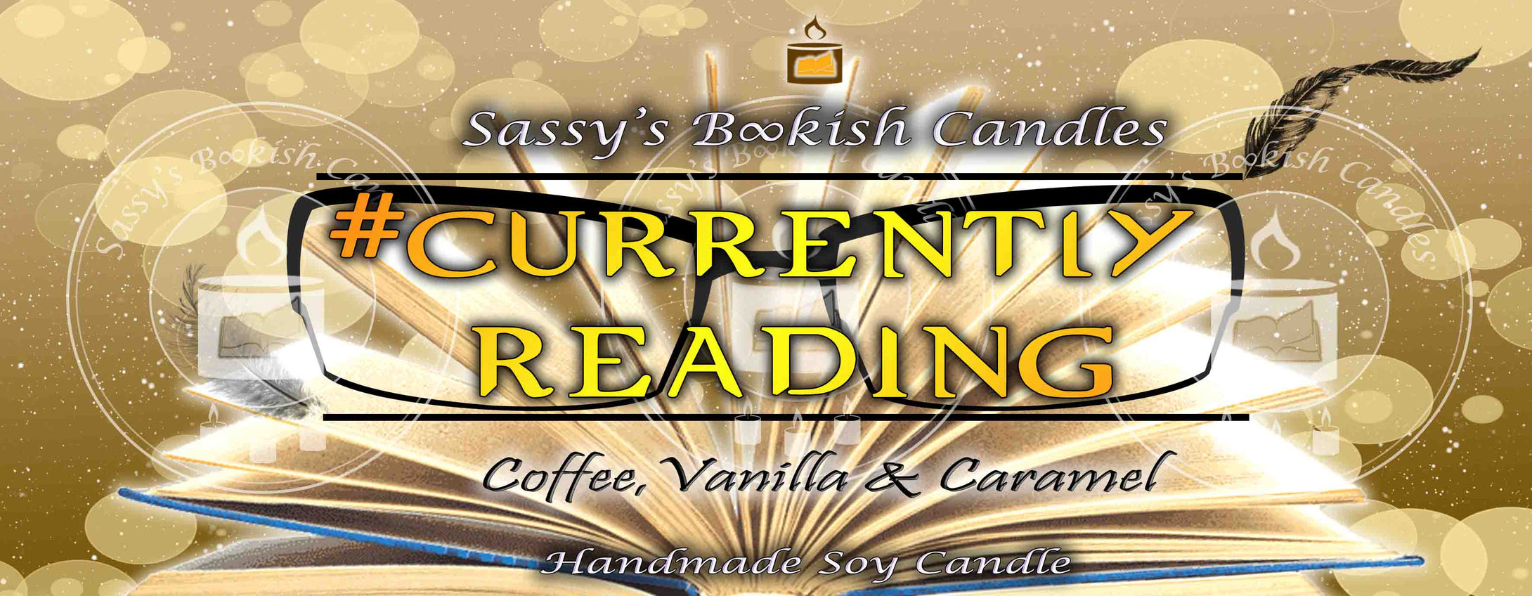 currently reading - Coffee, Vanilla & Caramel - Bookish Candle