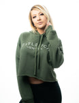 DNVR Cropped Hoodie - Military Green