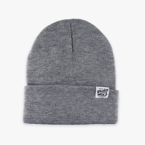 gray beanie designed by Whiskey and Wolf Supply co