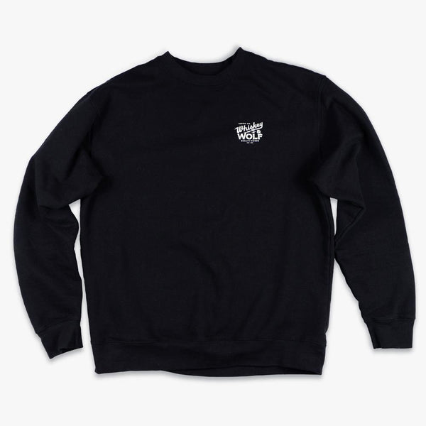 Whiskey and Wolf Supply Co classic crew neck sweater in black