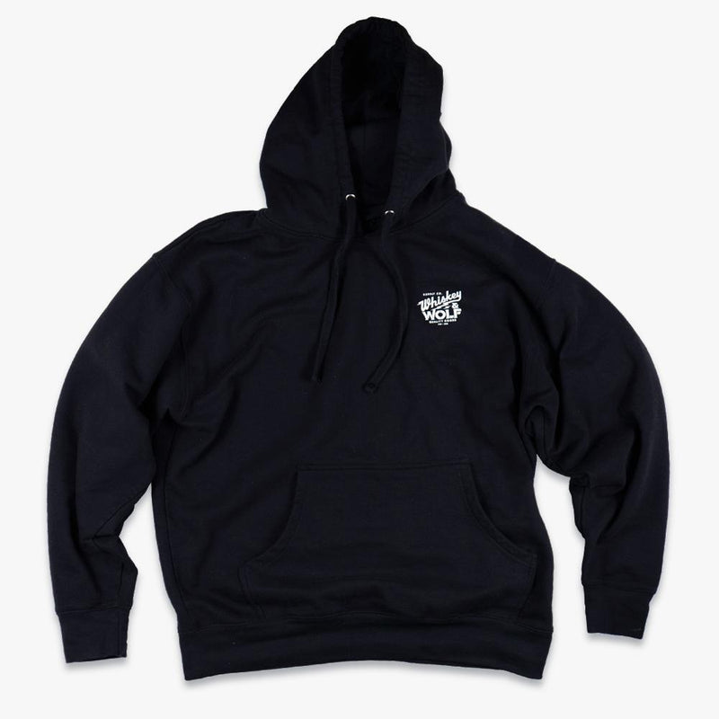 moto hoodie sweatshirt with whiskey and wolf supply co logo in upper right hand corner