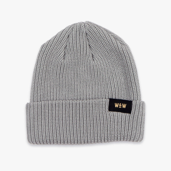 hand woven grey whiskey and wolf supply co knit beanie