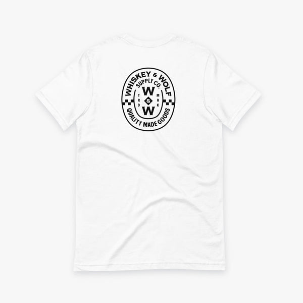 White heritage t-shirt featuring whiskey and wolf supply co logo