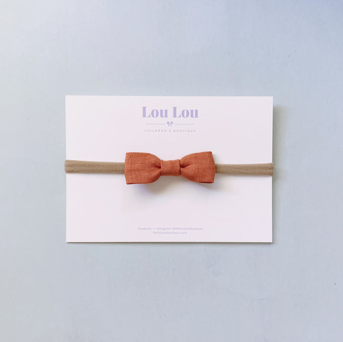 Terracotta Linen - Petite Milly Bow