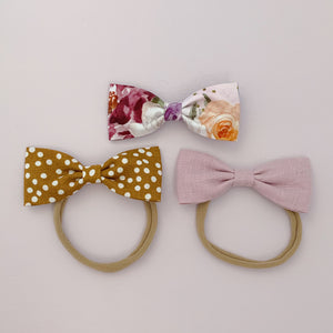 Mauve Linen - Milly Bow