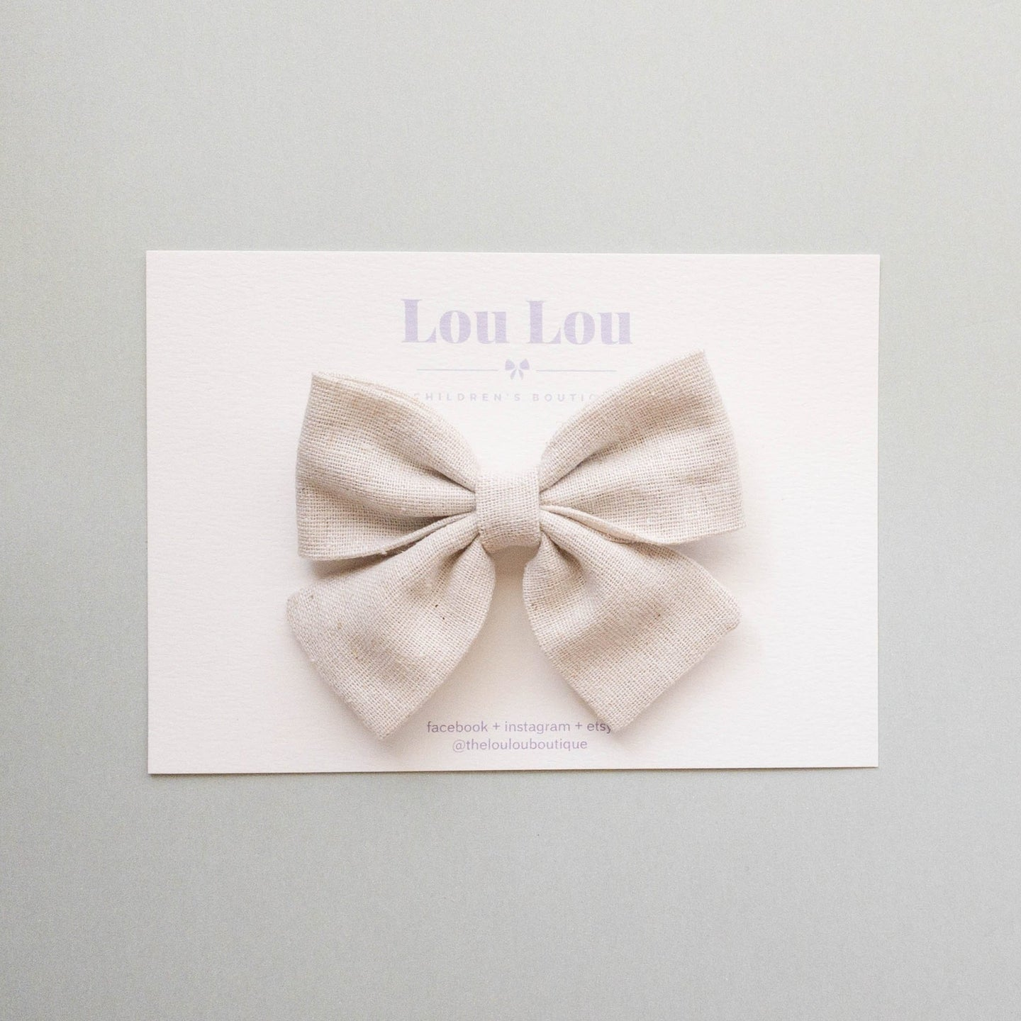 Oatmeal Linen - Small Sadie Bow