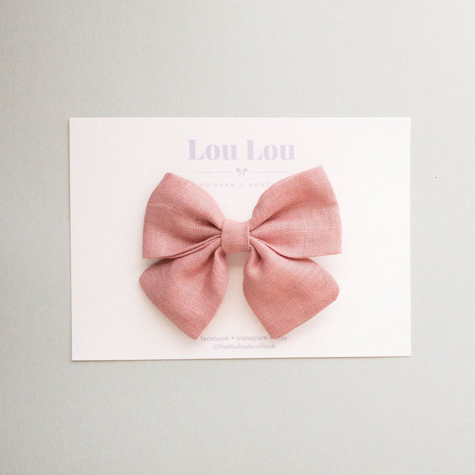 Peachy Linen - Small Sadie Bow