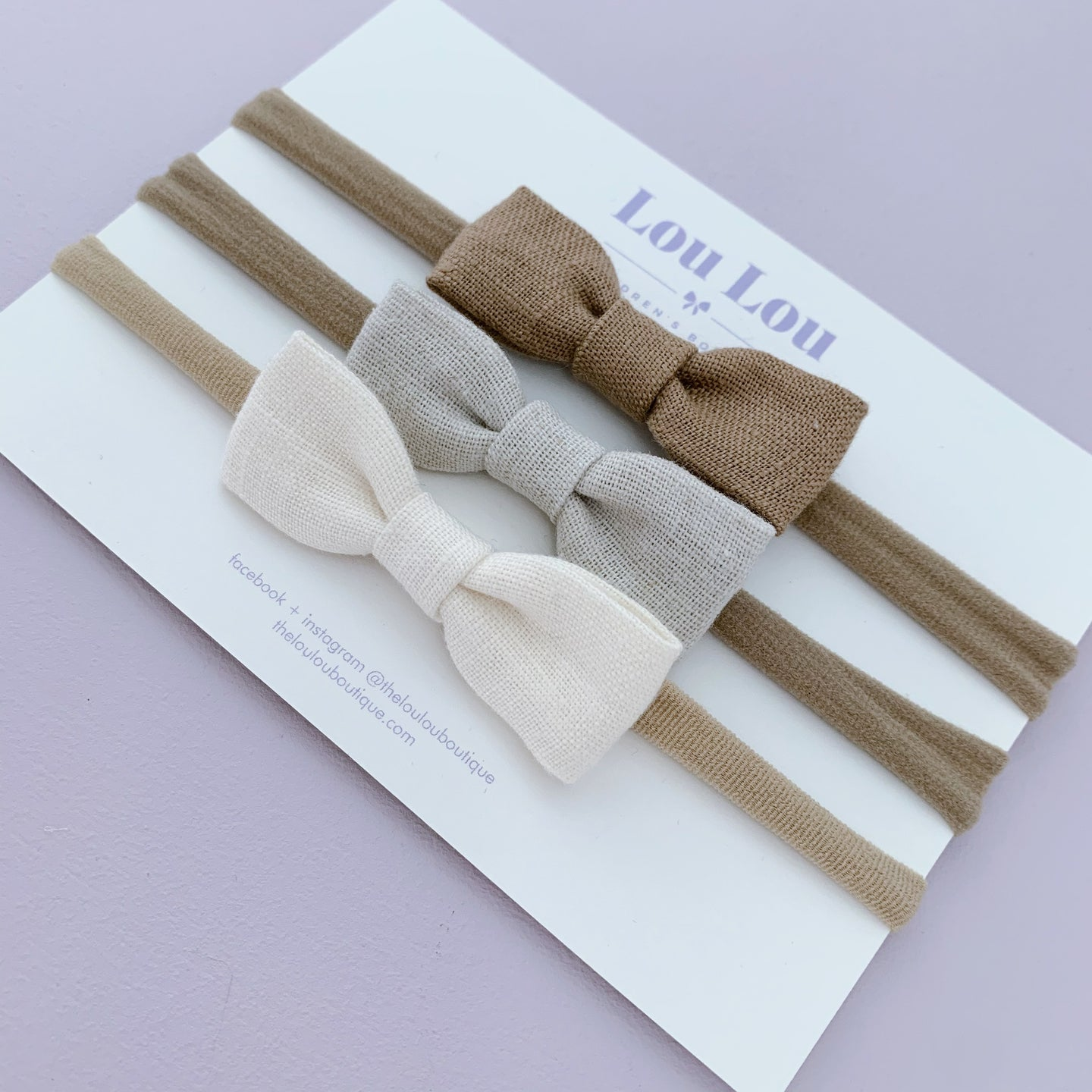 3 Petite Bows || headbands || bundle #49