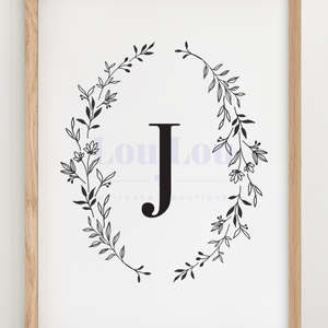 J || Nursery Print || digital download