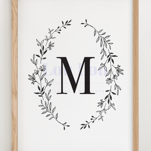 M || Nursery Print || digital download
