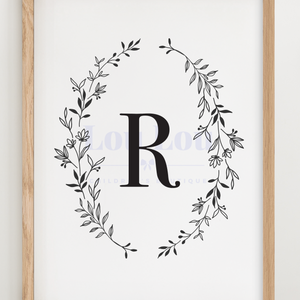 R || Nursery Print || digital download