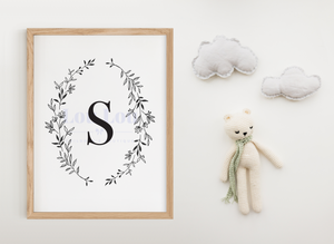 S || Nursery Print || digital download
