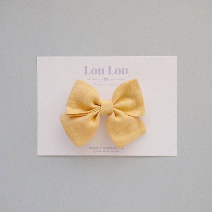 Light Mustard Linen - Small Sadie Bow