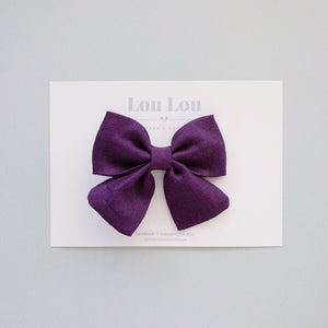 Dark Purple Linen - Small Sadie Bow