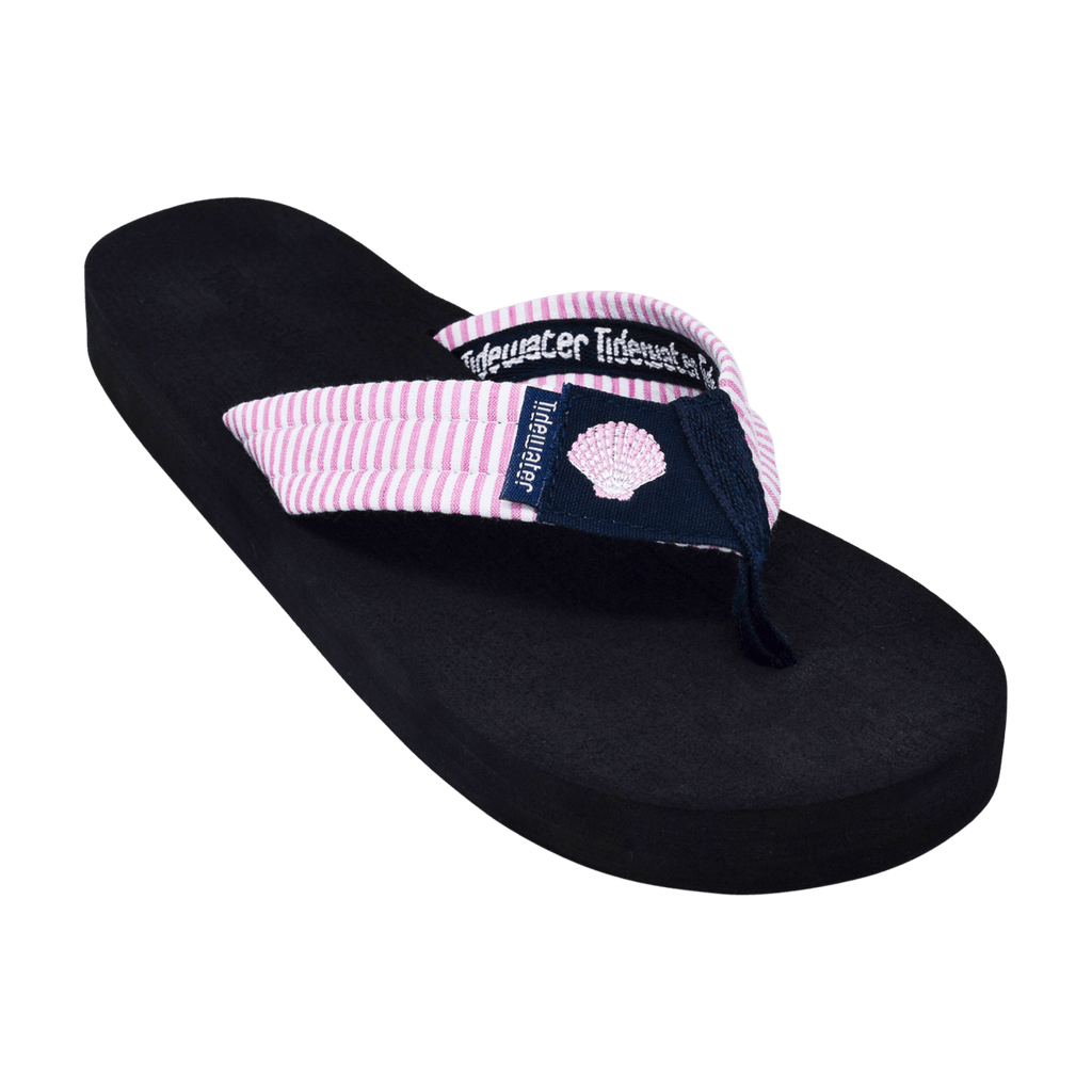 Pink Shell Seersucker - Tidewater Sandals | Voted Most Comfortable Flip Flops