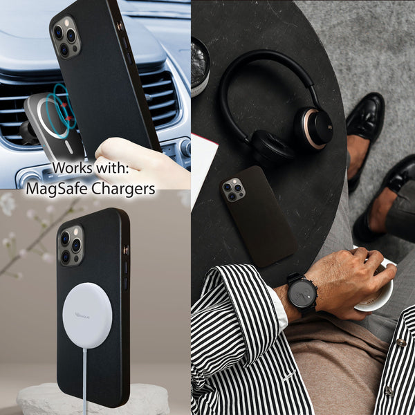 Genuine Leather Black iPhone 12 Pro Case with Magnetic Ring for MagSafe Wireless Charging