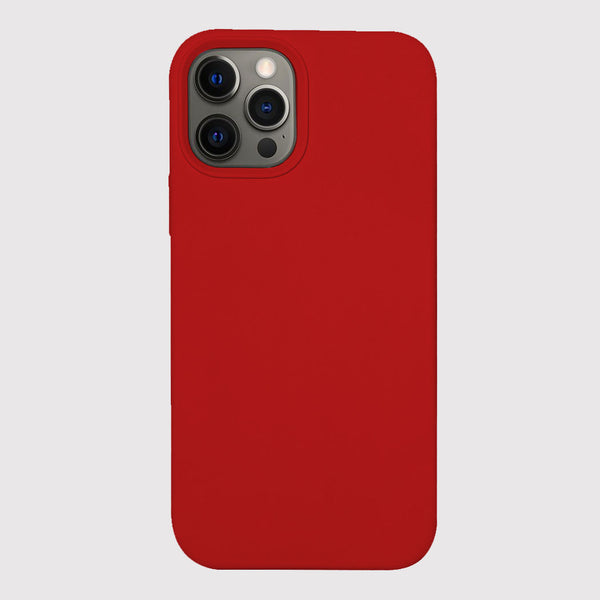 iPhone 12 Pro Silicone Case with Magnetic Ring for MagSafe Wireless Charging - Red