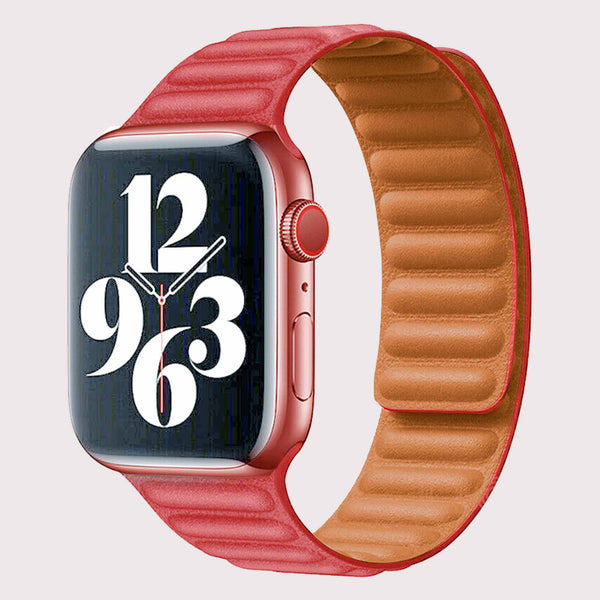 Vegan PU Leather Red Apple Watch Band 38/40 mm