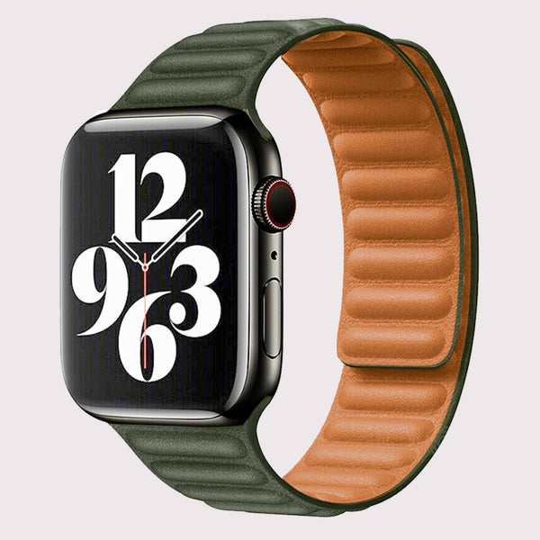 Vegan PU Leather Green Apple Watch Band 42/44 mm