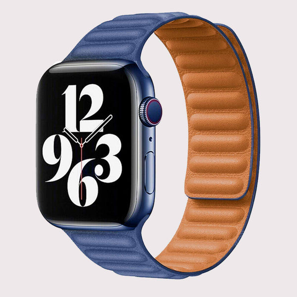 Vegan PU Leather Blue Apple Watch Band 42/44 mm