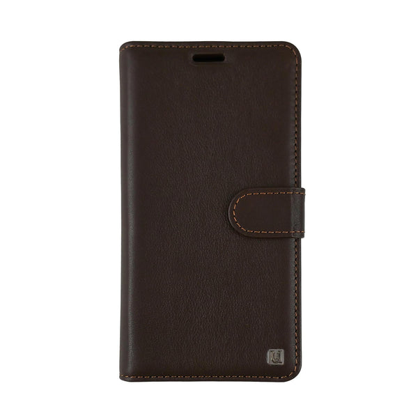 Uunique iPhone 8/7/6s/6 Genuine Leather Classic Folio Wallet with 2 in 1 Hard Shell Brown