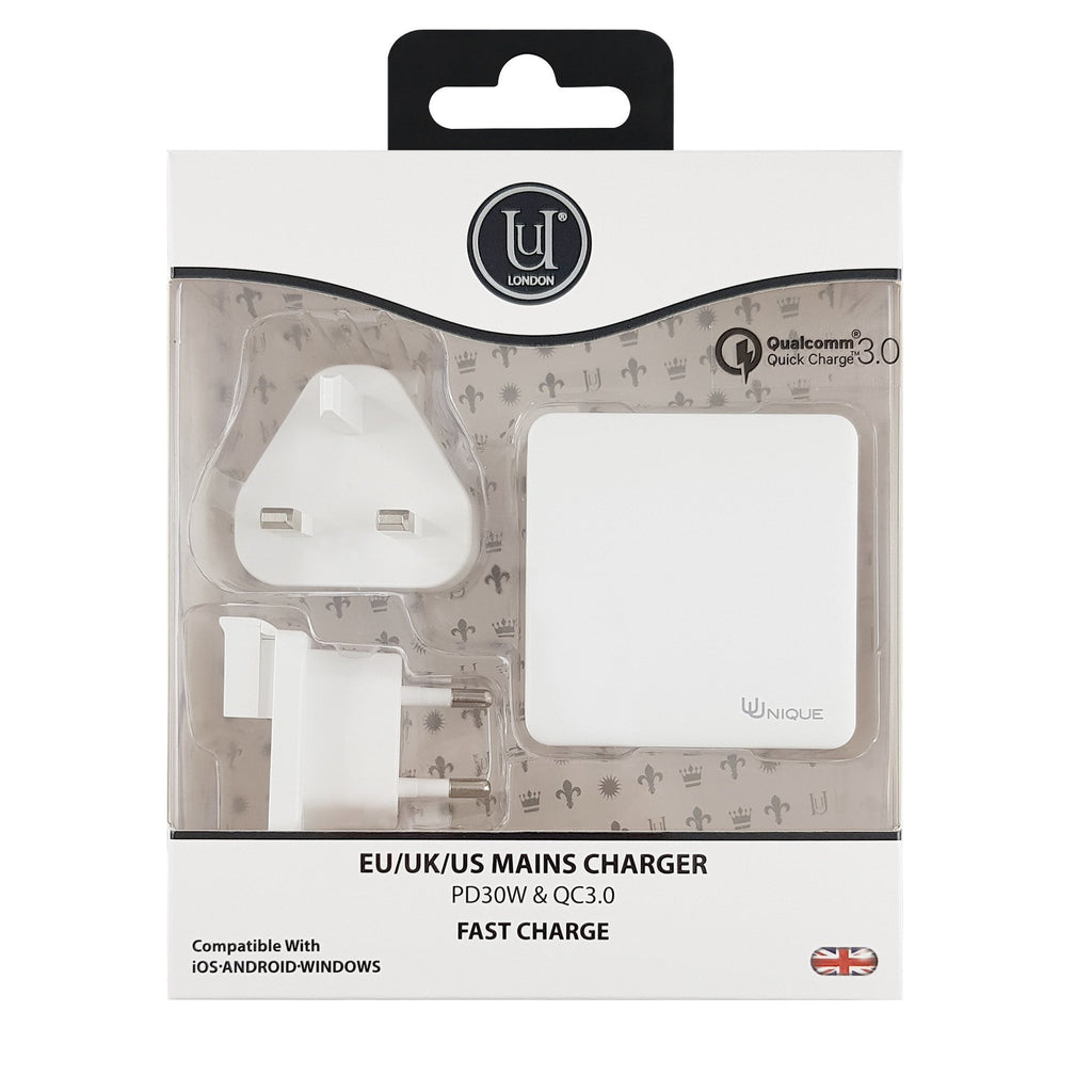 Uunique Mains Charger with Twin USB PD 30W & QC3.0 White