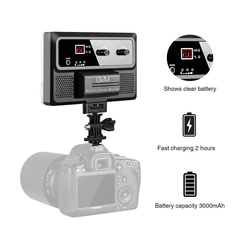 GVM-10S Bi Color Professional Video on Camera Video Light with Control Knob - GVMLED