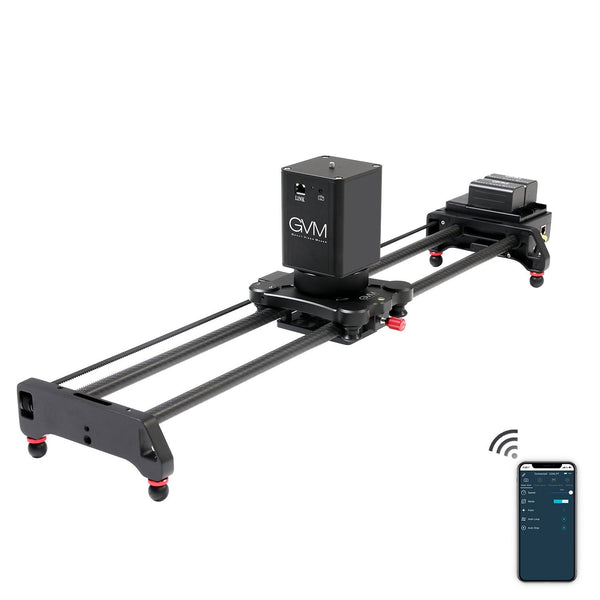 "GVM 2D 2-Axis Wireless Carbon Fiber Motorized Slider with Bluetooth Remote (32"") - GVMLED"