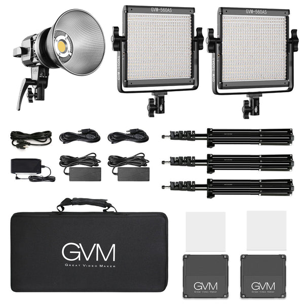 GVM 560AS Bi-Color LED 2-Light Panel Kit and LS-P80S LED Daylight Light - GVMLED