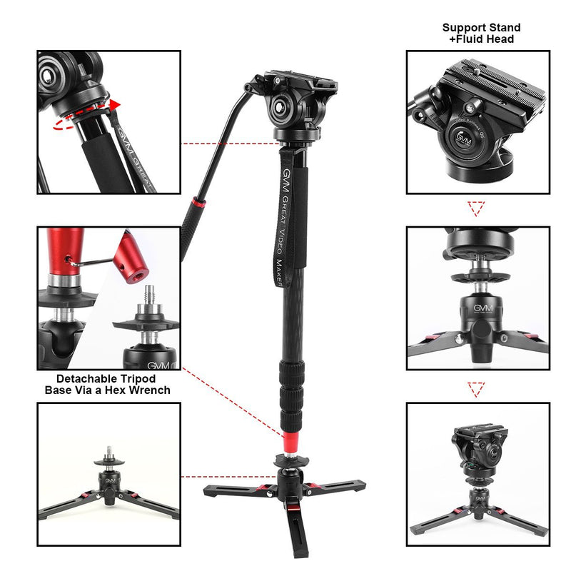 GVM G169 Carbon Fiber 4-Section Monopod with Video Fluid Head - GVMLED