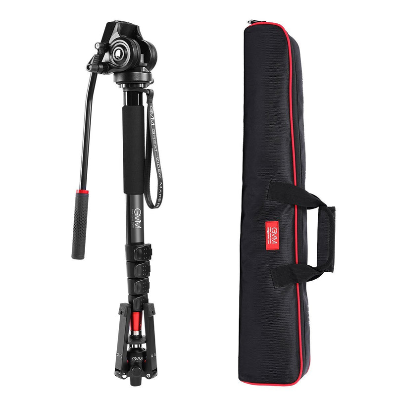 GVM  G175 Alluminum Alloy 5-Section Monopod with Video Fluid Head - GVMLED