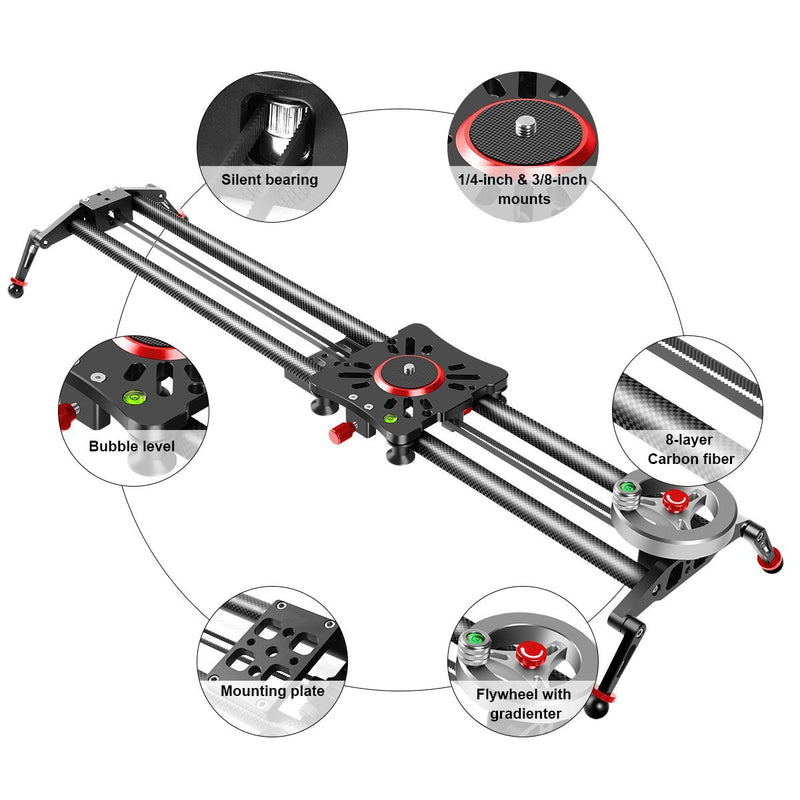 "GVM GP-80FW Flywheel Professional Video Carbon Fiber Camera Slider (31"") - GVMLED"
