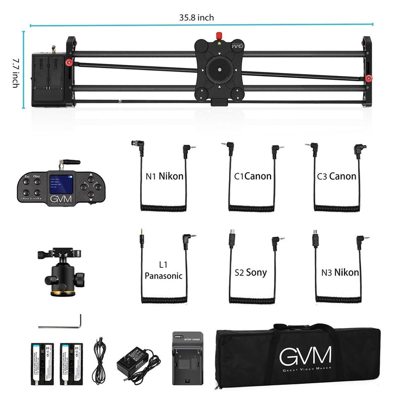 "GVM GT-80WD Wireless Carbon Fiber Motorized Camera Slider (31"") with Bluetooth Remote - GVMLED"