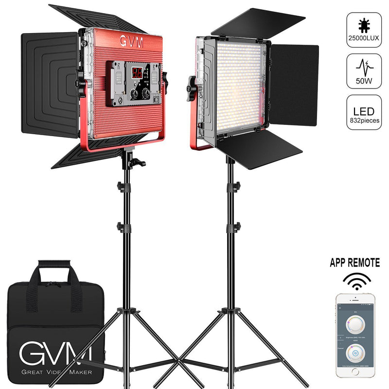 GVM LED Light Studio Soft Video Light Best Professional Bi-Color 2-Pack Panels Continuous Video Lighting kit - GVMLED