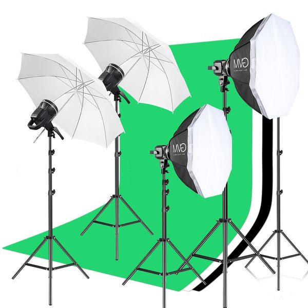 GVM P80S LED 4-Light Kit with Umbrellas, Softboxes, and Backdrops - GVMLED