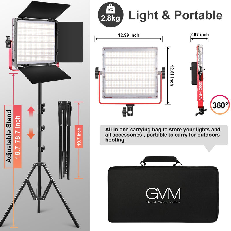 outdoor lighting kit RGB studio light with Bi-Color Soft Light Panel 2-light-kit wedding lighting outdoor lighting kit - GVMLED