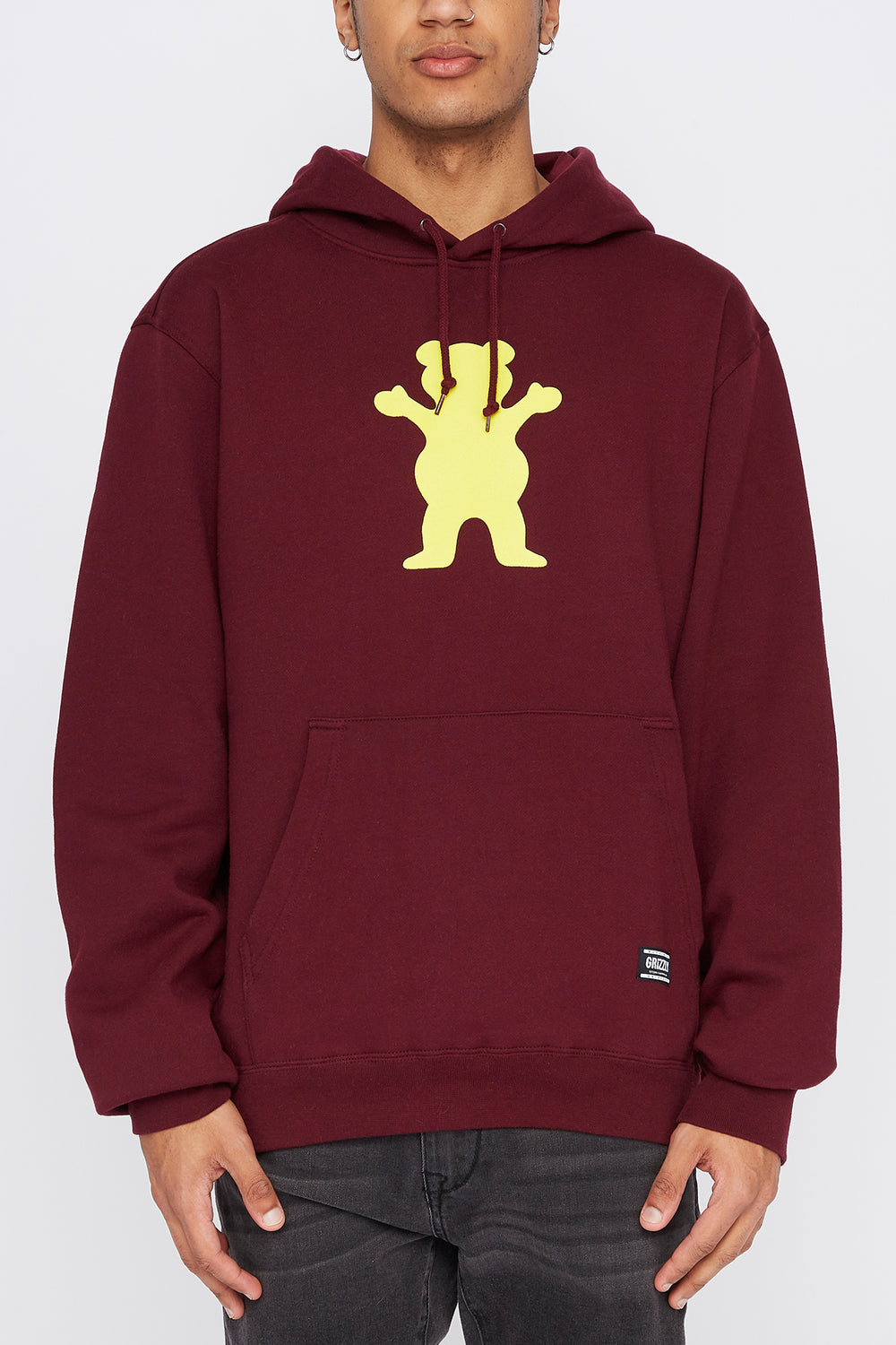 Grizzly Mens Classic Logo Hoodie Burgundy